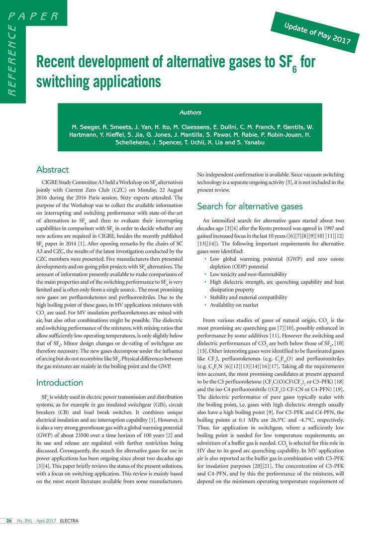 Recent development of alternative gases to SF6 for switching applications